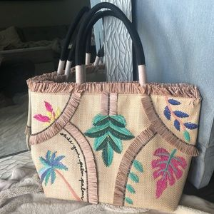 Stella & Dot Antibes Embroidered Straw Tote